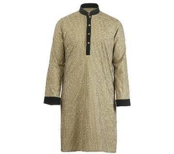 Mens Long Cotton Panjabi - 61 (Gray Print)