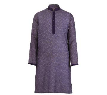 Mens Long Cotton Panjabi - 62 (Blue Print)