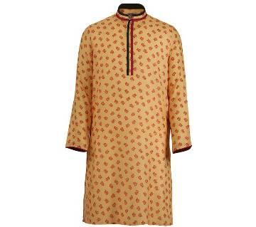 Mens Long Cotton Panjabi - 63 (Yellow Print)