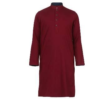 Mens Long Cotton Panjabi - 68 (Red)