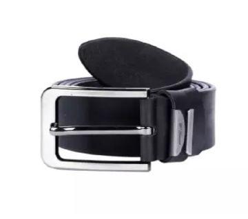 02Black Leather Formal Belt For Men