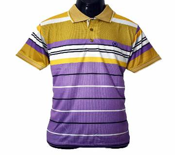 Mens Half Sleeve  Stripe Polo T-Shirt 2020  Purple