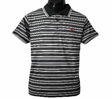 Half Sleeve Mens Stripe Polo T-Shirt 2020   Woodsmoke & White