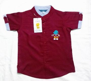 linen Shirt for Boys-red