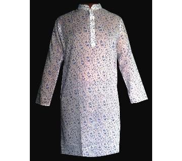 Cotton Casual Semi Long Panjabi For Men-88-white