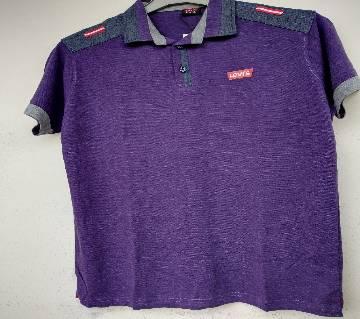 Export Quality half sleeve  Polo-Shirt for Men -purple -Levis