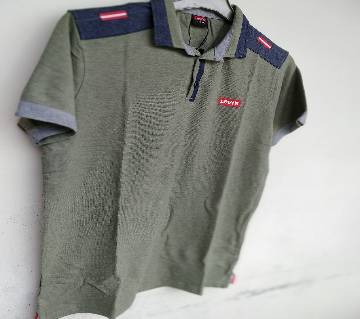 Export Quality half sleeve  Polo-Shirt for Men -gray-Levis