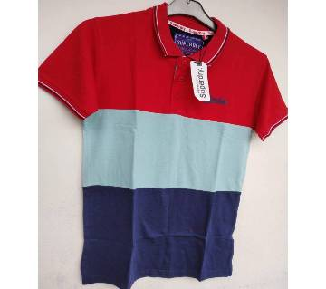 soft cotton half sleeve Export Polo Shirt for Men -red blue