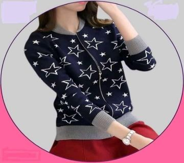 Navy Blue comfortable  Full sleeve cotton Jacket For Women