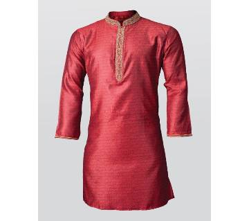 Premium quality,self texture, soft Katan with colar plate stone work party wear Punjabi-red
