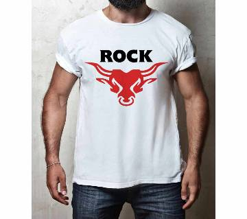 Rock White Short Sleeves Fashionable and Comfortable T-Shirt-p4