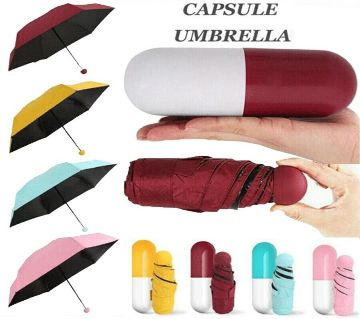 "7"" Rain And Sun Protected Smart Fashionable Mini Folding strong Umbrella with Cute Capsule Box small size Windproof Pocket chata"