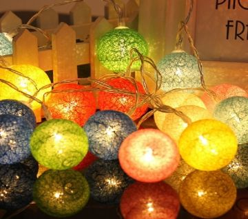 20 LED Colorful Cotton Ball LED String Lights