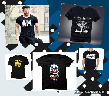 T-Shirt For Men Combo 5 Pcs  Black Fabrics 100% Cotton