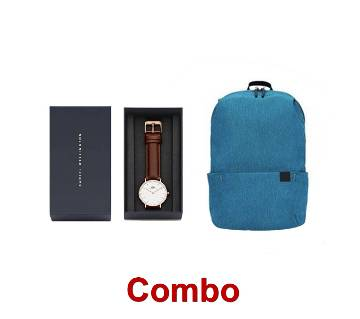 Travel Backpack & PU Leather Analo Wrist Watch For Men - Black (Copy) Combo offer
