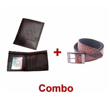 Artificial Leather Wallet (1 piece) + Formal Belt for Men