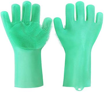 Magic Dishwashing Gloves with scrubber, Silicone Cleaning Reusable Scrub Gloves for Wash Dish,Kitchen, Bathroom