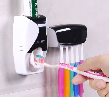 Toothpaste Dispenser Plus Toothbrush Holder