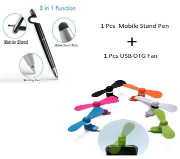 SMARTPHONE STAND 3 IN 1 PEN Mobile Stand+ Mini USB OTG Fan