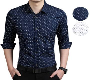 NAVY BLUE LONG SLEEVE COTTON SHIRT FOR MEN