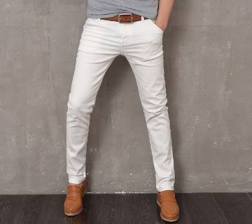 Slim-fit Stretchable Denim Jeans Pant-white
