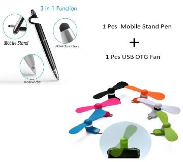 SMARTPHONE STAND 3 IN 1 PEN Mobile Stand+ Mini USB OTG Fan