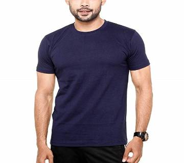Navy Blue Cotton Short Sleeve T-shirt For Men
