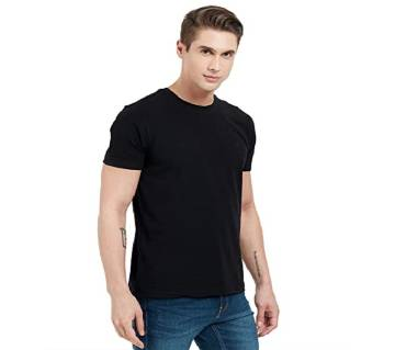 Black Cotton Short Sleeve T-shirt For Men
