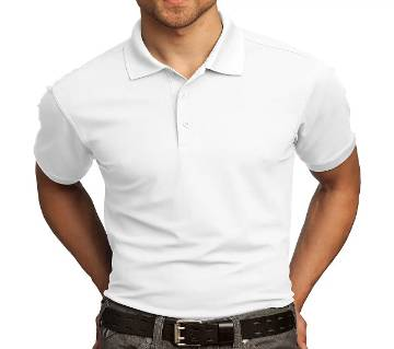 WHITE HALF SLEEVE POLO SHIRT FOR MEN