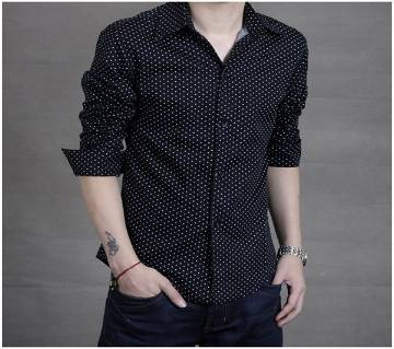 Black Slim fit Printed Shirt For Men