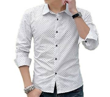 White Slim fit Printed Shirt For Men