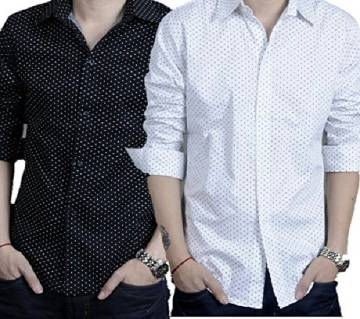 Combo Slim fit Long Sleeve Shirt For Men-2pcs
