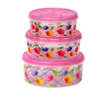 Printed Round Food Box - 3 pcs Set (Pink)