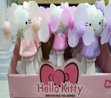 hello kitty mini double fan for kids-hand push toy, enjoy The refreshing breeze