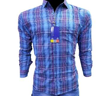 Mens Cotton full sleeve casual shirt -blue