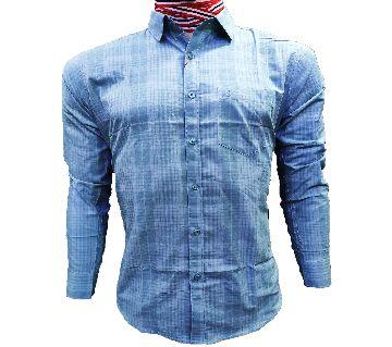 mens Cotton Full Sleeve Check Shirt Regular Fit-blue
