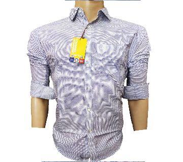 Cotton White Mix Slim Fit Shirt for Men