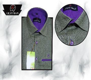 I C Cotton One Colour Contrast Design Slim Fit Shirt for Men