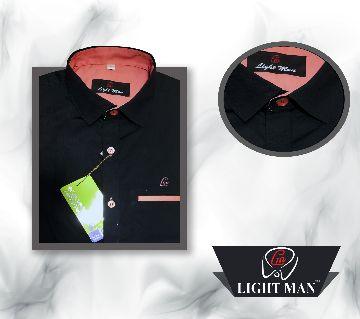 I C Cotton Black Color Contrast Design Slim Fit Shirt for Men