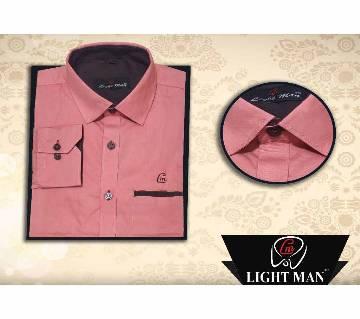 Latest Contrast Design Long Sleeve Shirt for Men-pink