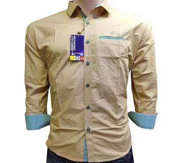 full sleeve cotton casual shirt for men-brown