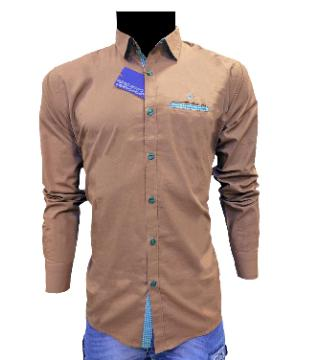 full sleeve cotton casual shirt for men-coffee