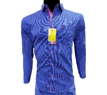 full sleeve casual shirt for men blue