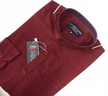 Menz full Sleeve Causal Shirt-07-maroon