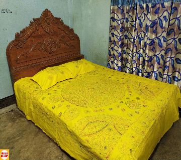 Nakshi Bed Sheet with 2 pcs Pillow covers yellow