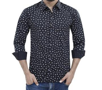 Mens Full Sleeve Black Cotton Casual Shirt By Fashion plus