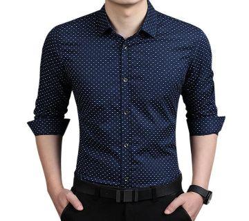 Navy Blue Cotton Long Sleeve Polka Dot Shirt for Men