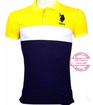 US POLO cotton half sleeve polo shirt-yellow blue and white