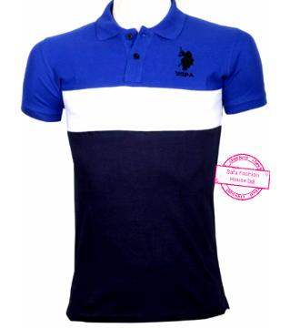 US POLO half sleeve cotton polo shirt -blue white black