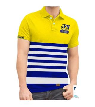 yellow and blue strap polo shirt for men